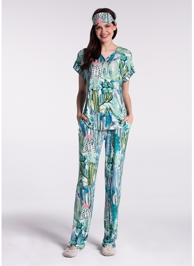 Dagi Gömlek Kısa Kollu Pijama Takımı Yeşil